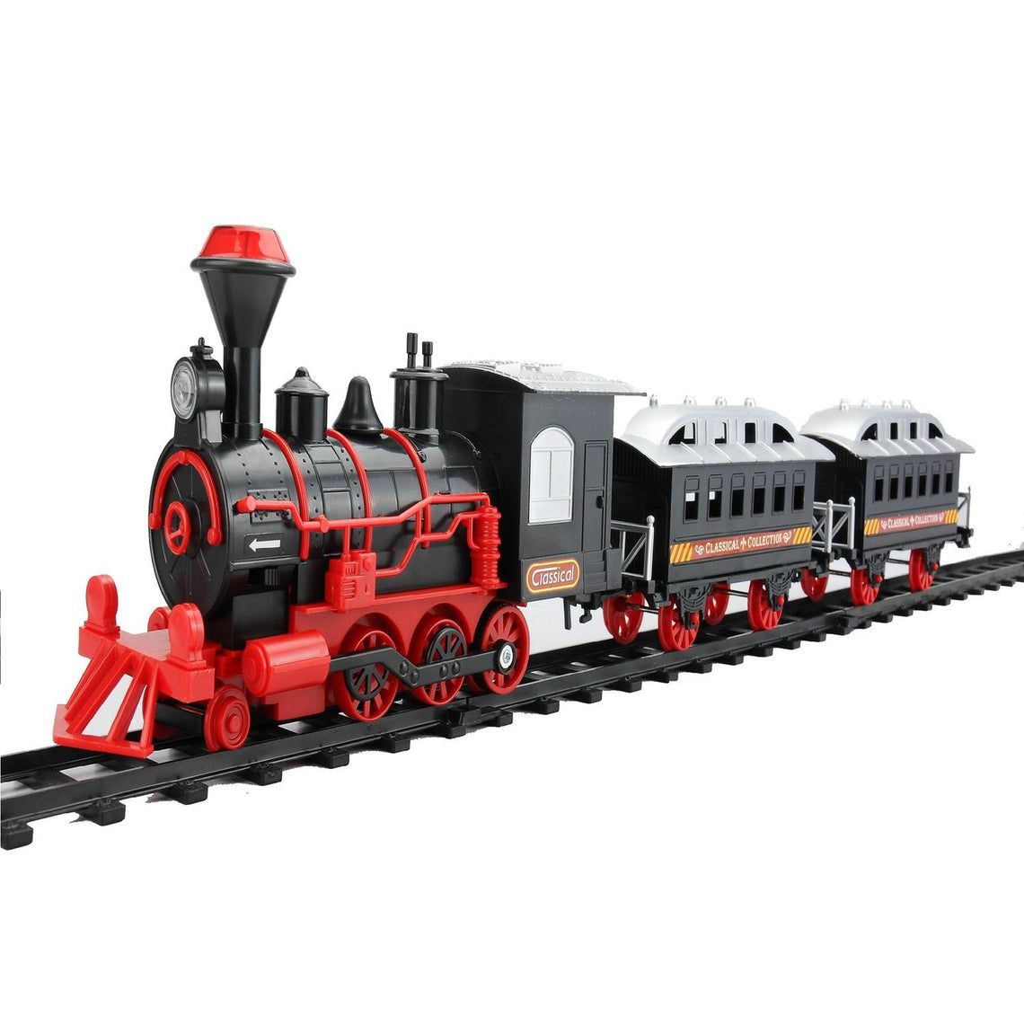 13-Piece Red and Black Battery Operated Lighted and Animated Classic Train Set with Sound