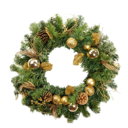 "24"" Pre-Decorated Gold Pine Cone  Apple and Ball Ornament Artificial Christmas Wreath - Unlit,  Dak D1092"