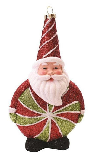 "6"" Merry & Bright Red  White And Green Glitter Shatterproof Santa Claus Candy Christmas Ornament"