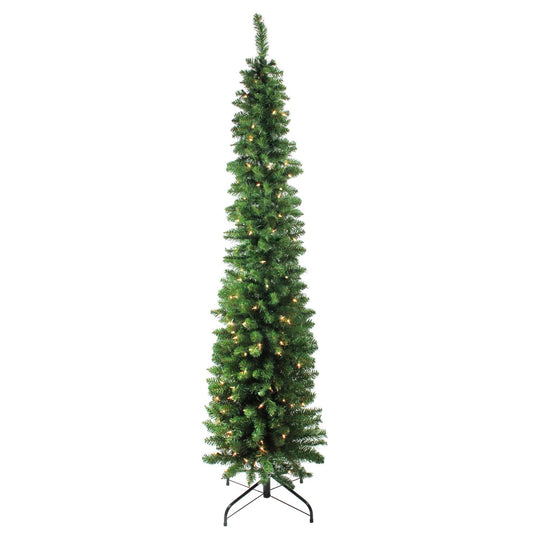 "6' x 20"" Pre-Lit Traditional Green Pine Pencil Artificial Christmas Tree - Clear Lights"
