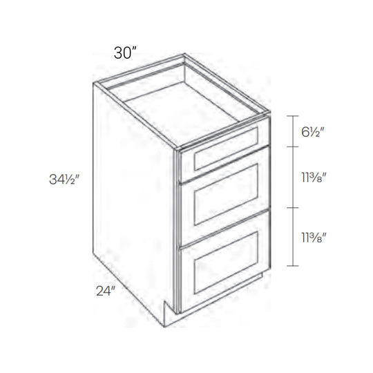 30 Inch Luxor White Ready To Assemble 3 Drawer Base Cabinets