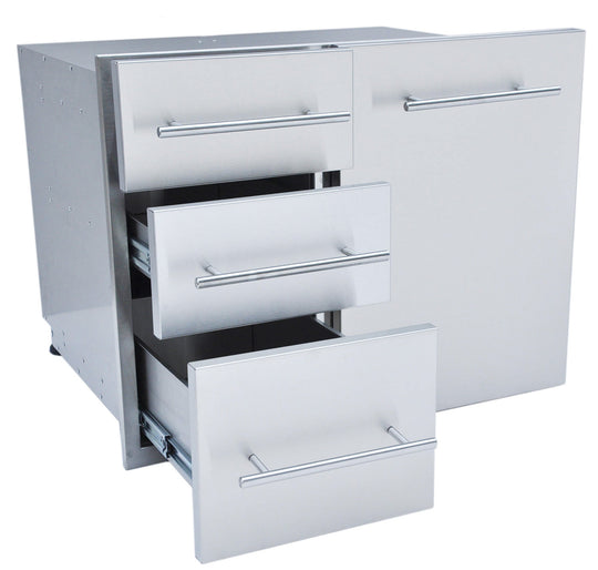 "Designer Series, Raised Style - 30"" Liquid Propane Combo Triple Drawer"