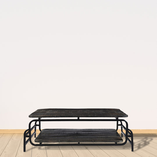Rustic Aldren Low Profile Coffee Table - Mango Wooden Top Cocktail Table