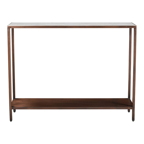 Bottego Console Table With Marble Table Top - Antique Copper Mid Century Modern Console Table
