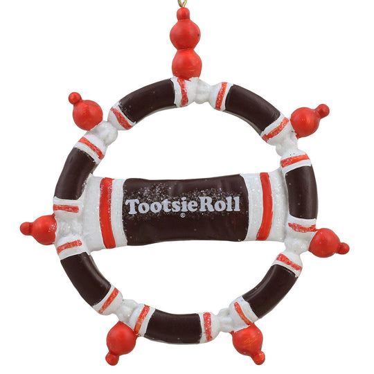 "4"" Tootsie Roll Original Chewy Chocolate Candy Christmas Wreath Ornament"