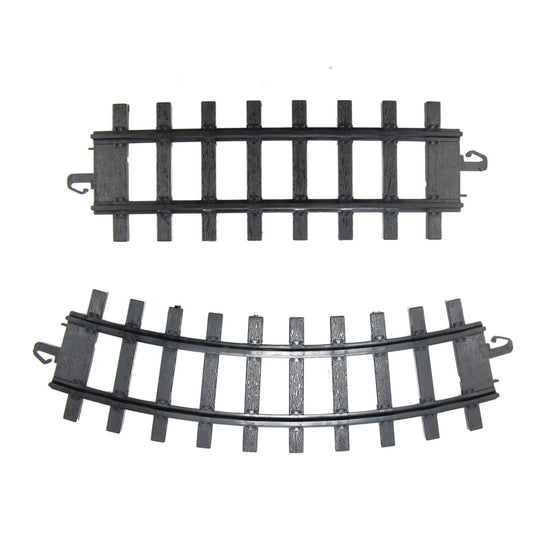 "Pack of 12 Black Replacement Train Set Track Pieces - 4"" x 10"""