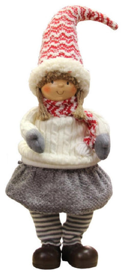 "16"" Jovial Young Girl Gnome in Ivory Cable Knit Sweater Christmas Decoration"