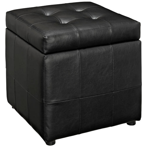 Volt Tufted Faux Leather Upholstered Storage Ottoman Cube In Black Color