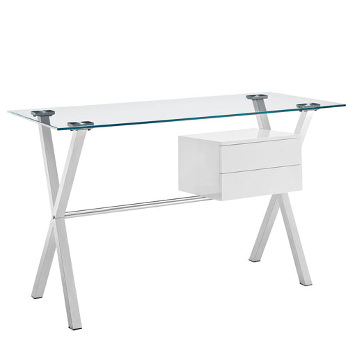 Shop Stasis Glass Top Office Desk for Modern Offices at BUILDMyplace