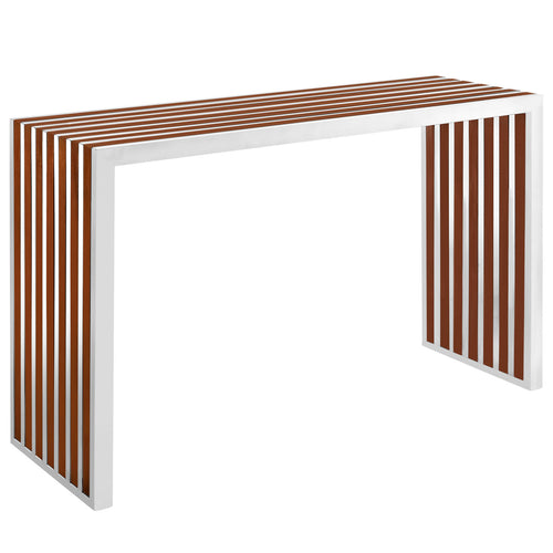 Modern Contemporary Large Stainless Steel Bench With Wood In Walnut