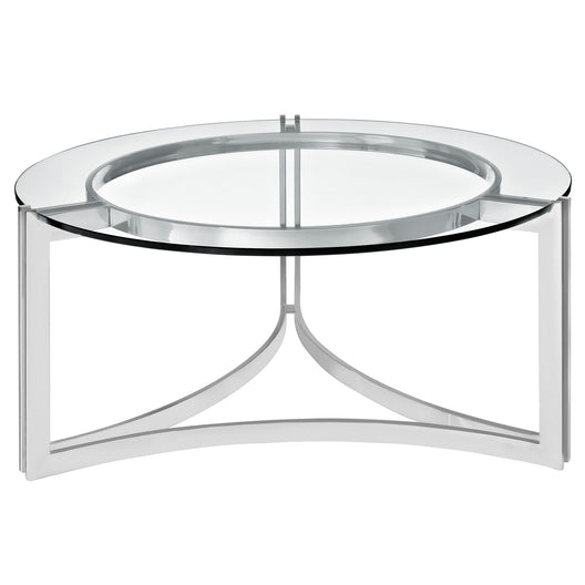 Modern Tempered Glass Signet Stainless Steel Coffee table - Cocktail Table