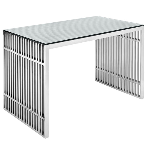 Sturdy Grid Iron Stainless Steel Office Desks at BUILDMyplace