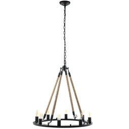 Encircle Vintage Rope & Steel 12-Light Chandelier - Brown - Farmhouse-Inspired Light