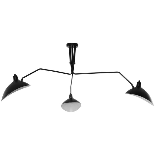 3-Light Contemporary Modern Metal View Pendant Chandelier - 120V - Sleek Black Steel