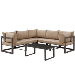 Fortuna 6 Piece 3 Corner With Coffee Table Outdoor Patio Sectional Sofa Set