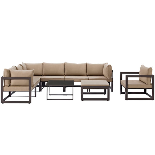 Fortuna 9 Piece Side Table Outdoor Patio Sectional Sofa Set With 3 Corner