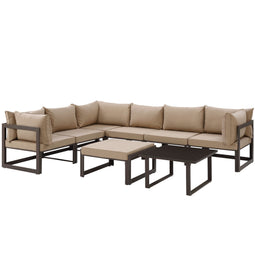 Fortuna 8 Piece 2 Corner Outdoor Patio Sectional Sofa Set With Ottoman