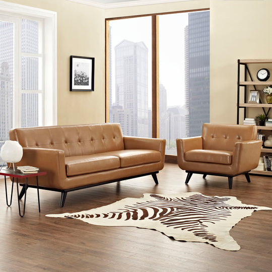 Engage Living Room Set In Leather