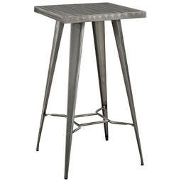 Rustic Farmhouse Steel Metal Square Bar Table In Gunmetal - Square Pub Bar Table And Chairs - 41