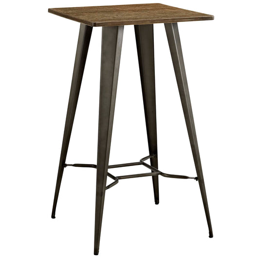 Modern Farmhouse Steel Metal Square Bar Table - Rustic Bamboo Top Bar Height Dining Table