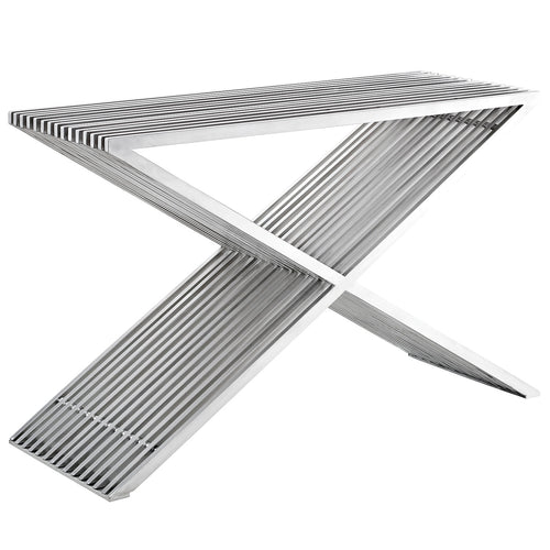 Modern Stainless Steel Press Console Table - Silver Console Table With Brushed Stainless Steel Tube