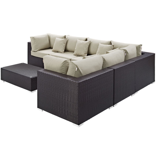 Convene 7 Piece 3 Armless Outdoor Patio Sectional Set