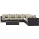 Load image into Gallery viewer, Convene 7 Piece 3 Armless Outdoor Patio Sectional Set