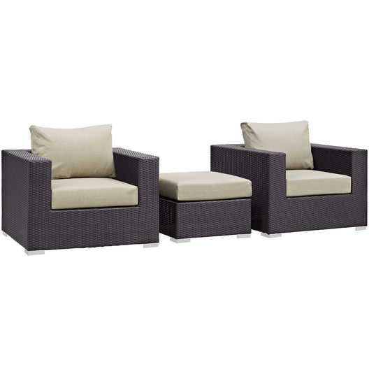 Convene 3 Piece 3 Seat Outdoor Patio Sofa Set
