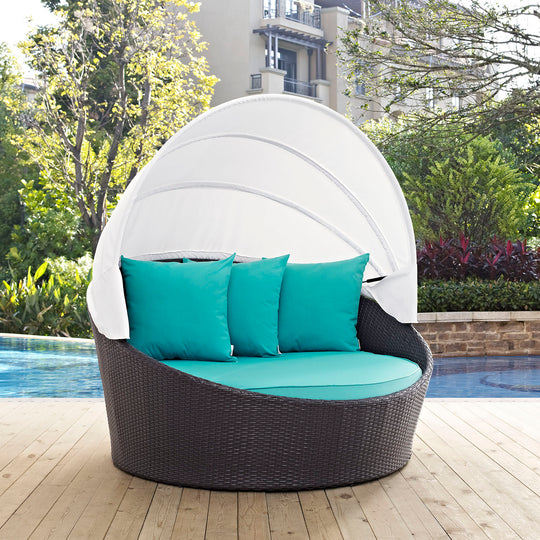 Convene Canopy Outdoor Patio Daybed In Rattan