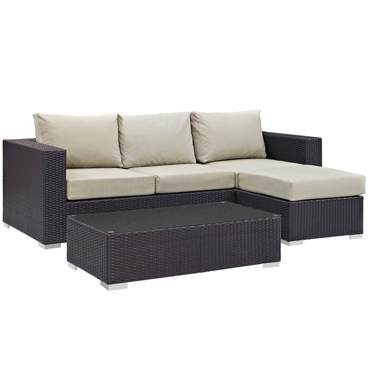 Convene 3 Piece 4 Seat Outdoor Patio Sofa Set