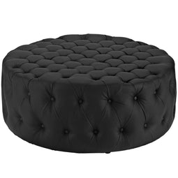 Luxurious  Round Design Amour Upholstered Vinyl Oversized Tufted Button Ottoman - Black