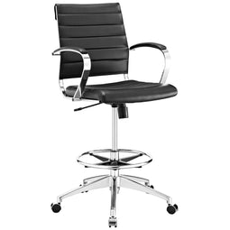 Flash Furniture Mid-Back Black Mesh Ergonomic Jive Drafting Chair With Adjustable Foot Ring And With Padded Armrest