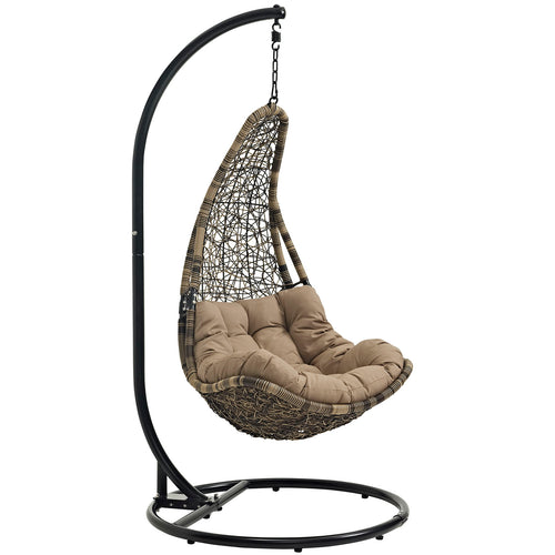 Black Mocha  Abate Outdoor/Indoor Patio Swing Chair With Stand -  Chair Porch Swing Seat