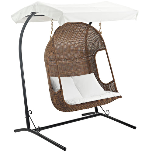 Hanging Wicker Chair With 2 Pillows - Vantage Outdoor Patio Swing Chair With Stand - With White Cushions