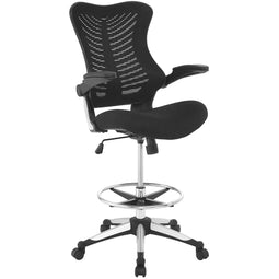 Ergonomic High Back Drafting Stool With Flip-Up Arms - Standing-Desk Matched Swivel Computer Office Chair, Black
