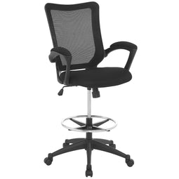 Ergonomic Rolling Mesh Back Project Drafting Chair With Executive Lumbar Support - Black