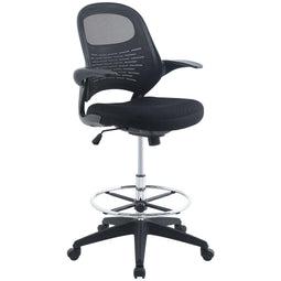 Stealth Mesh Drafting Chair with Footrest Ring - Reception Desk Chair in Black