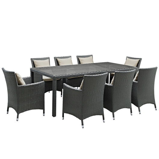 Sojourn 9 Piece 8 Seater Outdoor Patio Sunbrella Dining Set - Glass Top Dining Room Table