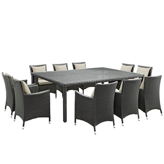 Sojourn 11 Piece 10 Seater Outdoor Patio Sunbrella Dining Set - Glass Top Dining Room Table