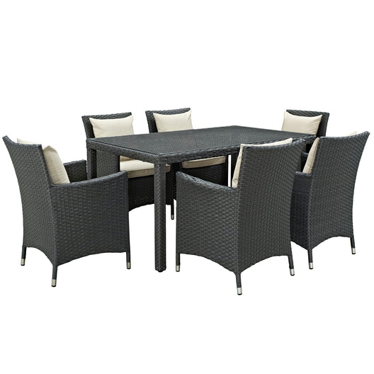 Sojourn 7 Piece 6 Seater Outdoor Patio Sunbrella Dining Set - Glass TOp Dining Room Table