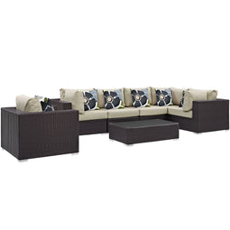Convene 7 Piece Outdoor Patio Sectional Set W/ Coffee Table