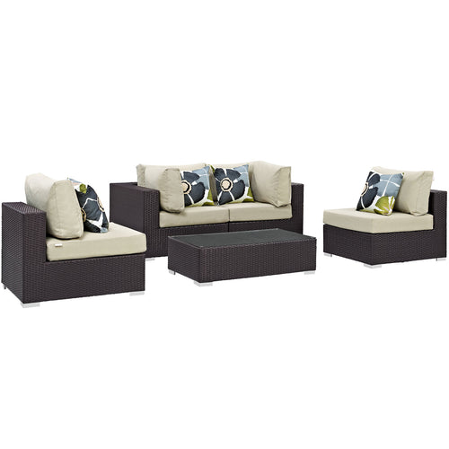 Convene 5 Piece Outdoor Patio Sectional Set W/ Pillows