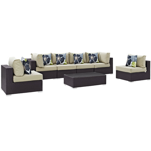 Convene 7 Piece 2 Corner Outdoor Patio Sectional Set