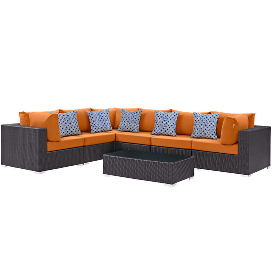Convene 7 Piece 5 Pillows Outdoor Patio Sectional Set