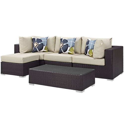 Convene 5 Piece 4 Seater Outdoor Patio Sectional Set W/ Pillows