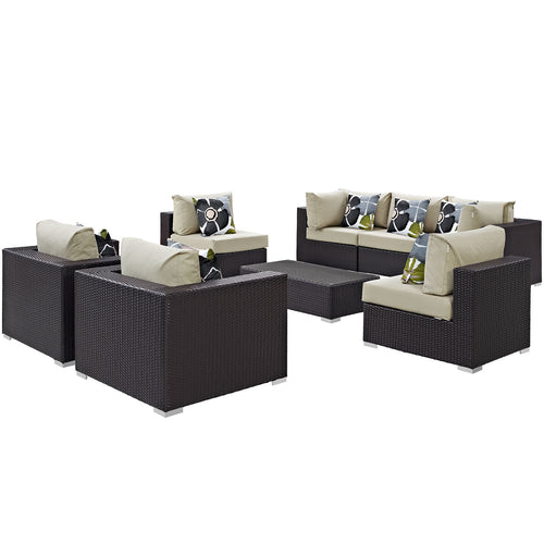 Convene 8 Piece Outdoor Patio Sectional Set W/ Pillows