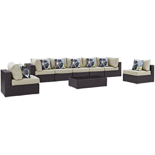 Convene 8 Piece 5 Armless Outdoor Patio Sectional Set