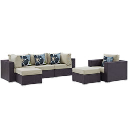 Convene 6 Piece Outdoor Patio Sectional Set W/ Pillows & Ottoman