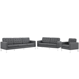 Upholstered Performance Velvet Loveseat And Armchair Sofa Set - Set Of 3 - Sectional Sofa Set