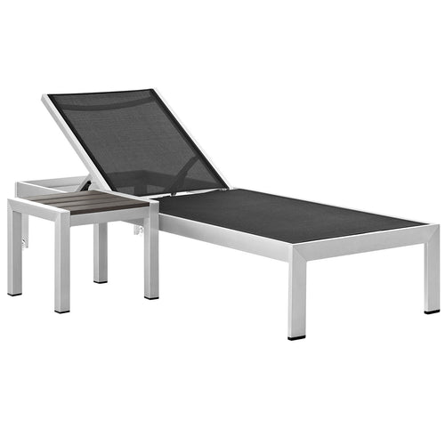 Shore 2 Piece Outdoor Patio Aluminum Set With Side Table